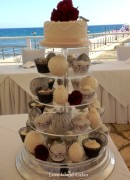 Grey and ivory temari and cupcakes finished with pearls, piped designs, flowers and butterflies