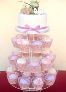 Domed cupcakes in shades of pale & vintage pink