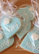 Rose heart cookies in blue and white