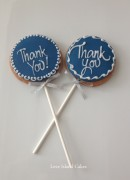 Blue Thank You cookie lollipops