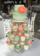 Green and coral peony tower