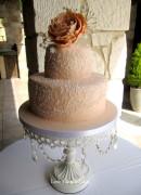 Apricot Lace Wedding Cake