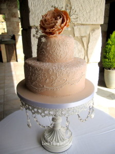 Apricot Lace Wedding Cake
