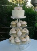 Champagne & Blush temari and cupcake tower