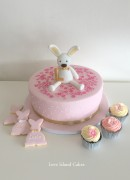 Bunny Christening cake, cupcakes and biscuit favours