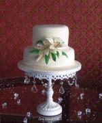 Ivory Lilies Wedding Cake