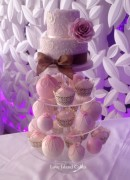 Dusky Pink Rose temari and cupcake tower