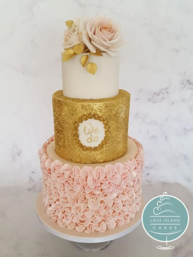 Tall 'We Do' gold sparkle with pink frills and roses
