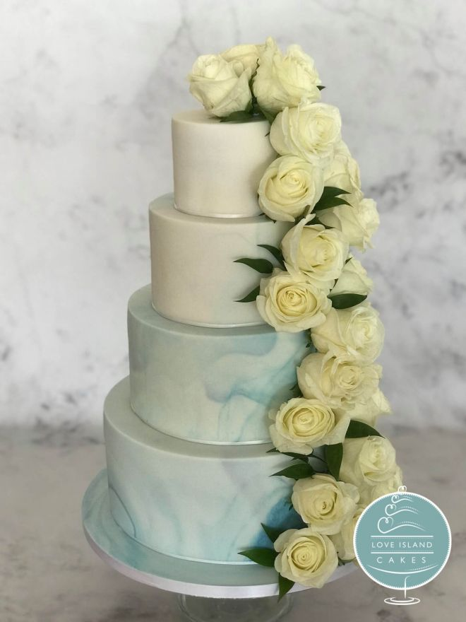 Pale blue marble ombre with fresh rose cascade