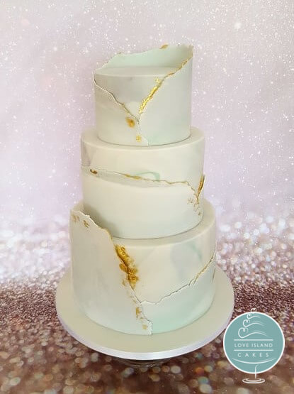 Marble & gold sugar cuff three tier