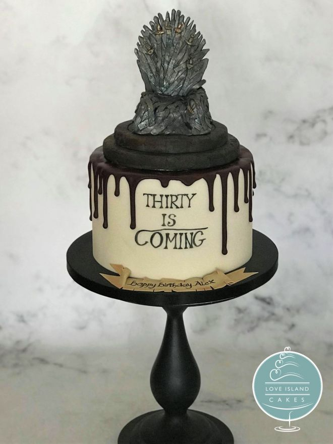Thirty is coming with sugar Iron Throne topper