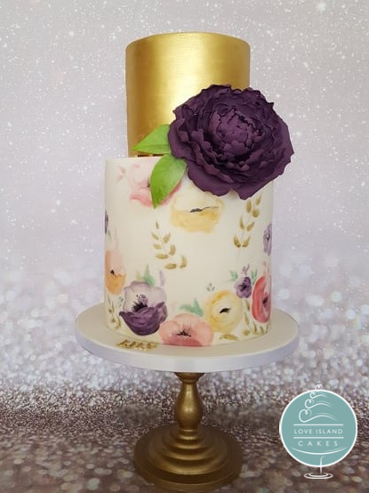 Gold & Handpainted cake with sugar peony