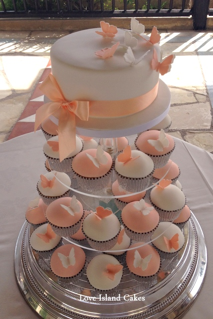 Soft peach butterfly cupcakes