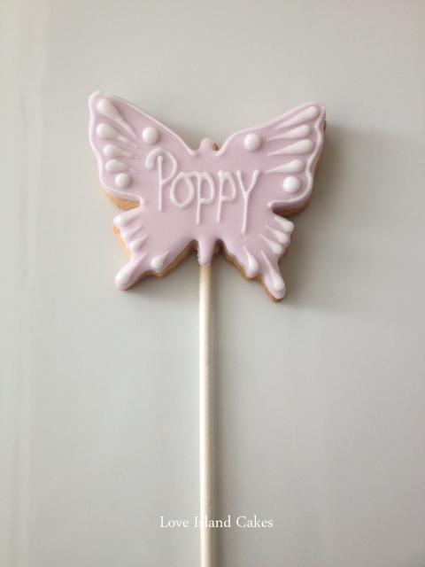 Lilac Butterfly cookie lollipop