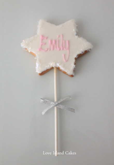 Sparkly wand lollipop cookie
