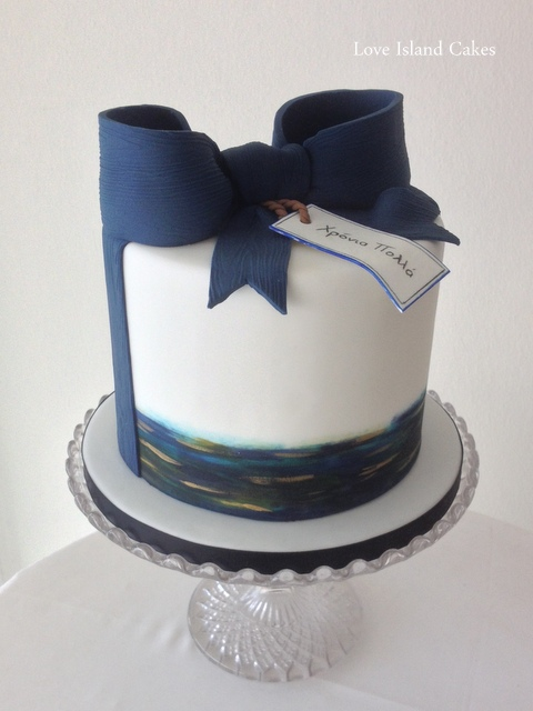 Painted Cake with Navy Bow & Gift tag