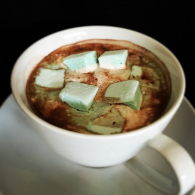 Hot chocolate with handmade mint marshmallow