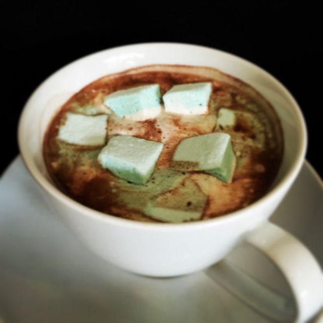 Hot chocolate with handmade mint marshmallow