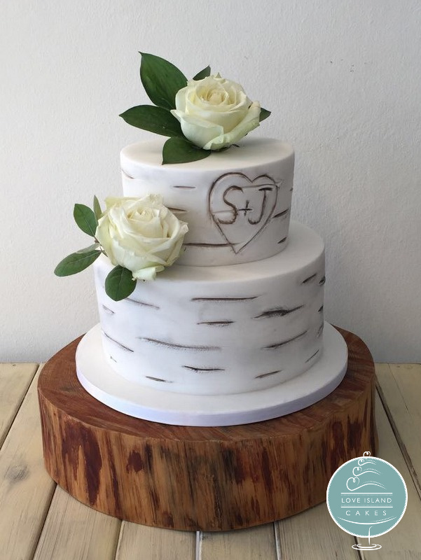 Carved Birch two tier
