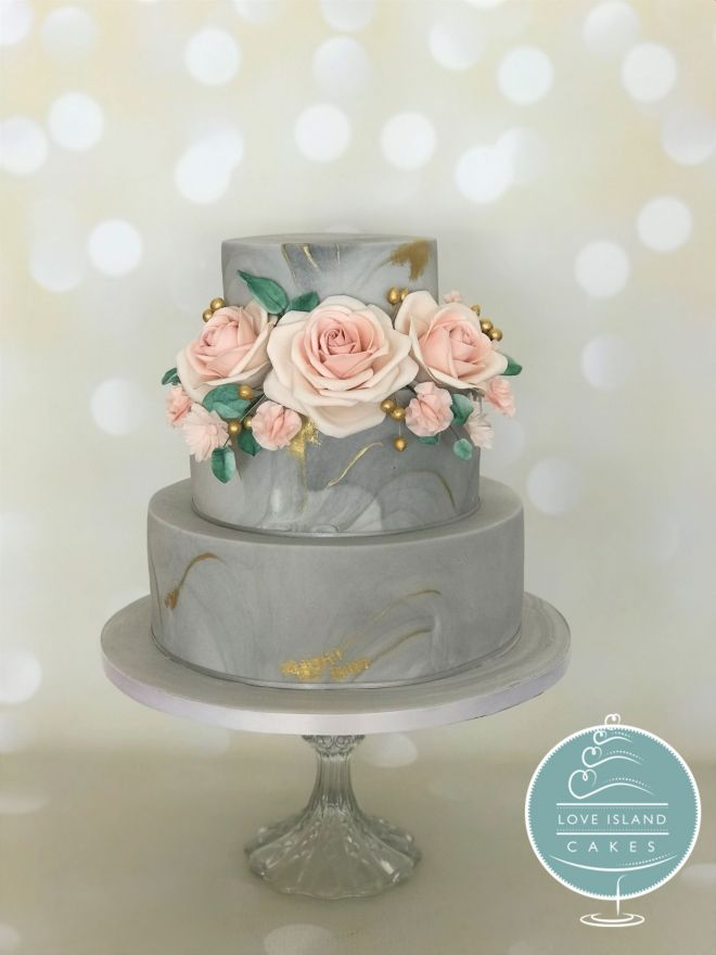 Grey & gold marble with pink sugar flowers