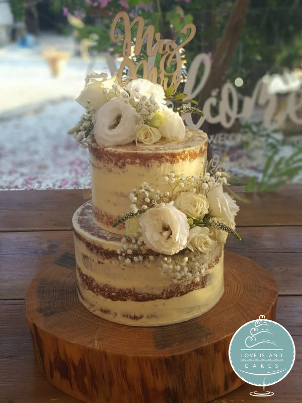 Semi naked cake with fresh eustoma