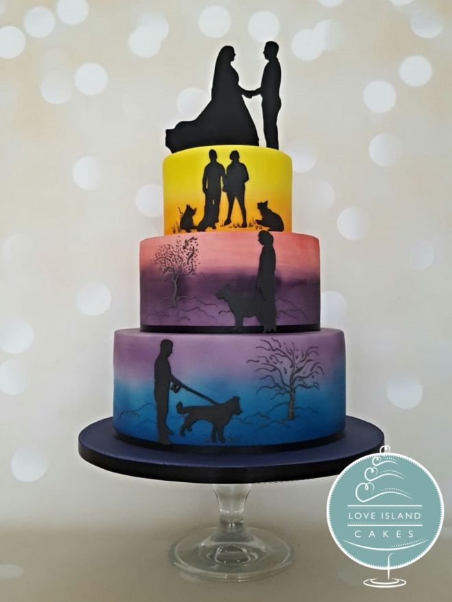 Rainbow Silhouette Story cake