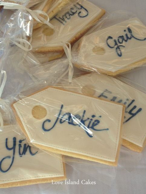 blue and ivory luggage tags