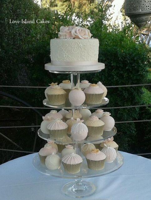 Champagne & Blush temari and cupcake tower