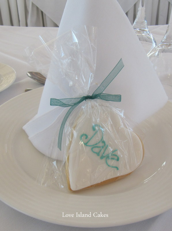 Teal & Ivory Heart Cookie