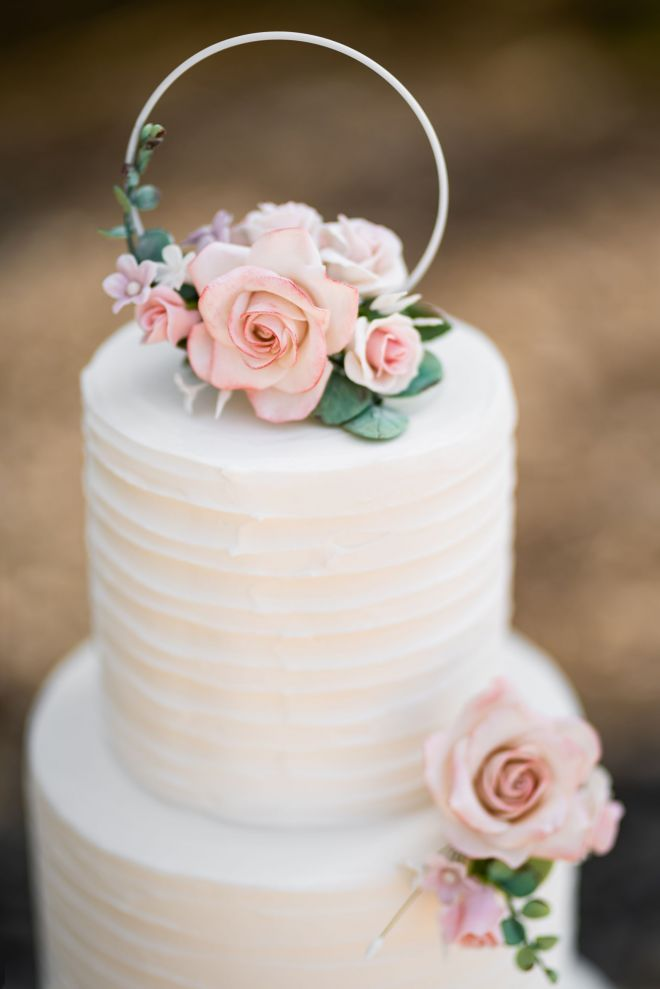 White Hoop & Sugar flowers